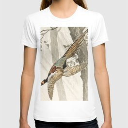 Pheasant flying down from the tree - Vintage Japanese woodblock print art T-shirt