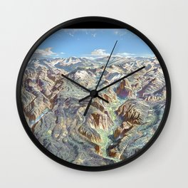 Heinrich Berann - Panoramic Painting of Yosemite National Park with labels (1989) Wall Clock