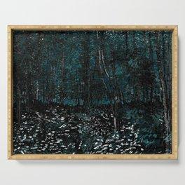 Dark Teal Van Gogh Trees & Underwood Serving Tray