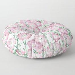 Elegant Pink Burgundy Green Glitter Carnations Floral Floor Pillow