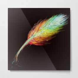 Beautiful Colorful Feather - Decor Art / 2  Metal Print