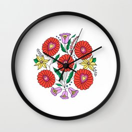 Hungarian embroidery inspired pattern white Wall Clock