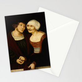 """Lucas Cranach the Elder """"Amorous Old Woman and Young Man Stationery Cards"""