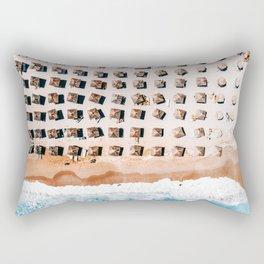 Aerial Beach Print, Coastal Beach, Australia Beach Umbrellas, Aerial Photography, Ocean Waves, Waves Print, Sea Print, Modern Home Decor, Art Print Rectangular Pillow