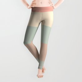 Soft Stripes - Broad Stripe Pattern in Peachy Millennial Pink, Cream, and Pale Celadon Aqua Mint Leggings