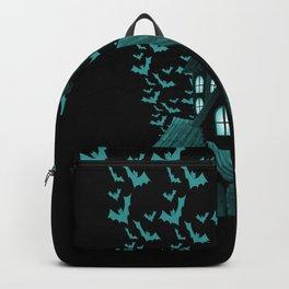 Wrath Blue Halloween Haunted House Bat Flyover Backpack
