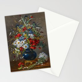 Eugene Henri Cauchois - Summery Bouquet in a Bulbous, Brass-mounted Glass Vase Stationery Cards
