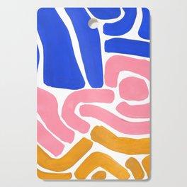 Colorful Minimalist Mid Century Modern Shapes Pink Ultramarine Blue Yellow Ochre Tribal Maze Pattern Cutting Board