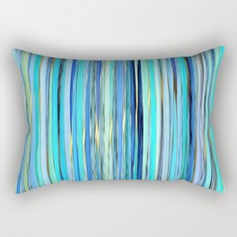 turquoise blue gold abstract striped pattern Rectangular Pillow