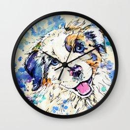 Aussie Pup - Australian Shepherd Dog Painting Wall Clock