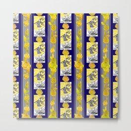Striped Floral Tarot Print - 0 The Fool Metal Print