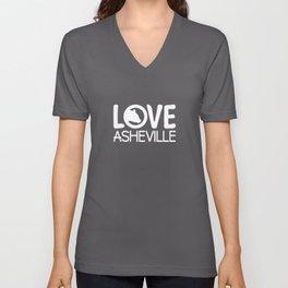 LOVE ASHEVILLE - AVL 13 WHITE ON BLUEGREY Unisex V-Neck