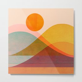 Abstraction_SUNSET_LANDSCAPE_POP_ART_Minimalism_018X Metal Print