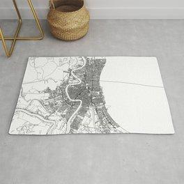 New Orleans White Map Rug