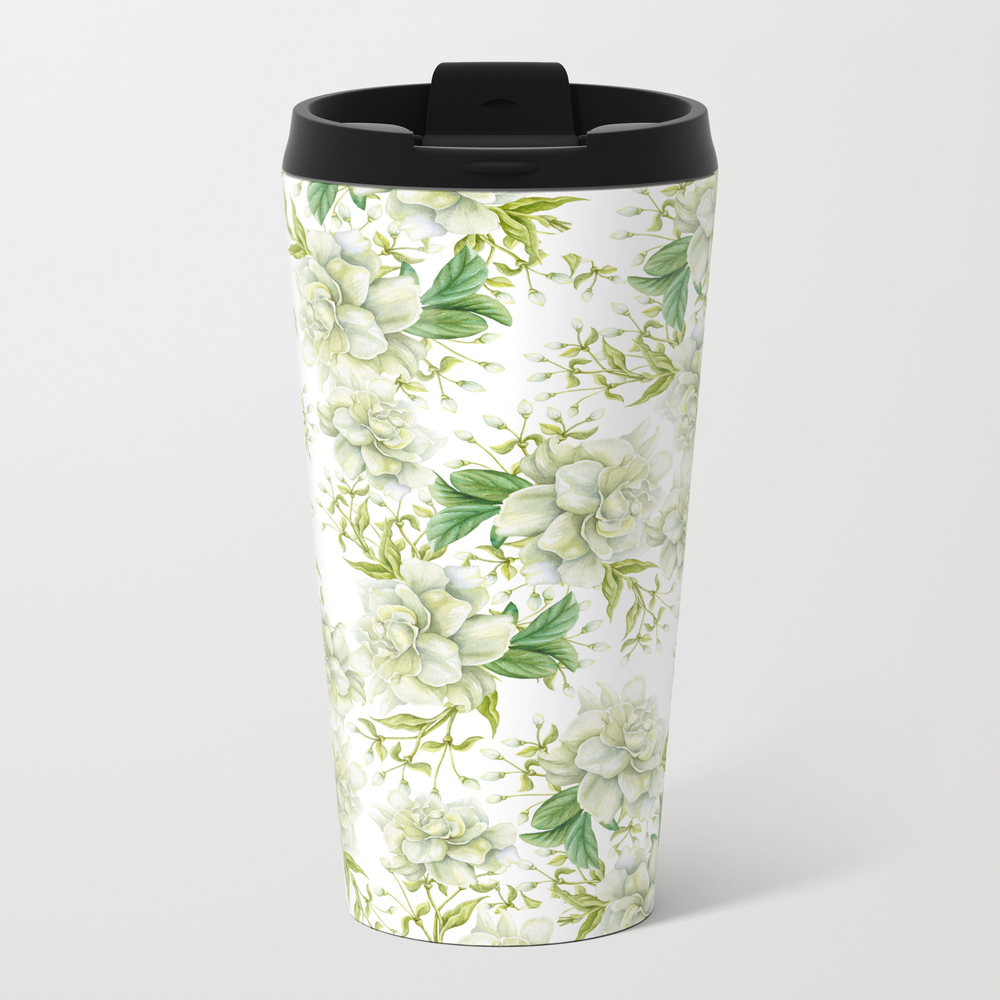 Elegant White Green Hand Painted Watercolor Floral Travel Cup TRM7651674