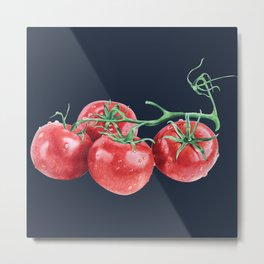 tomatos blue pillow Metal Print