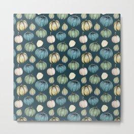 Blue pumpkin pattern Metal Print