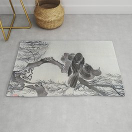 Kawanabe Kyosai - Two Birds On A Branch - Digital Remastered Edition Rug