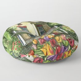 Victorian Eclectic with Spring Tulips Floor Pillow