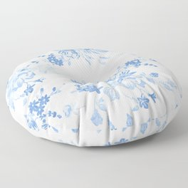Modern navy blue white watercolor elegant floral Floor Pillow