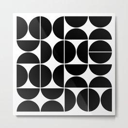 Mid Century Modern Geometric 04 Black Metal Print