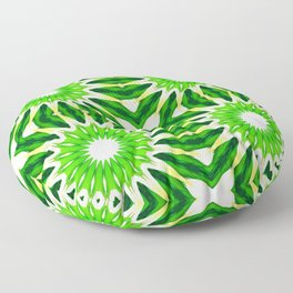 Serene Green Pinwheel Flowers Floor Pillow