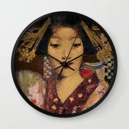 Geisha in kimono with lilies traditional floral portrait painting by George Henry Wall Clock