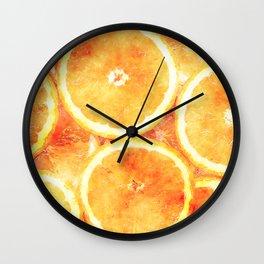 Oranges Watercolor Illustration Wall Clock