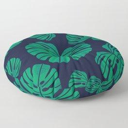 Kelly Green Monstera Leaves Floor Pillow