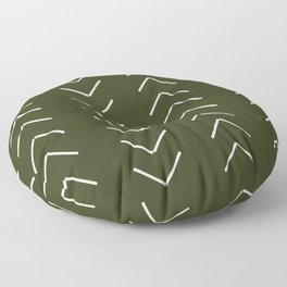Mudcloth II (Olive Green) Floor Pillow