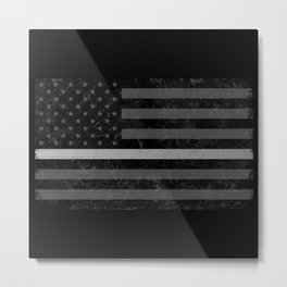 Thin Silver Line Metal Print