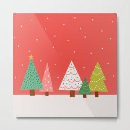Holly Jolly Trees Metal Print