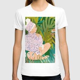 Guardian Angel, Tropical Travel Woman Cheetah Tiger Leopard, Terrazzo Boho Fashion Travel Wildlife T-shirt