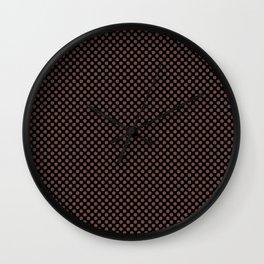 Black and Root Beer Polka Dots Wall Clock