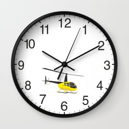 Light Black and Yellow Helicopter Wall Clock