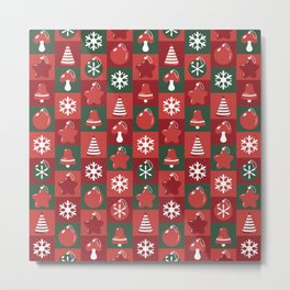 Festive pattern with Christmas ornaments Metal Print