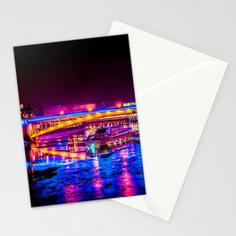 Fantastic, Breathtaking River Cruise At Winter Night Stationery Cards
