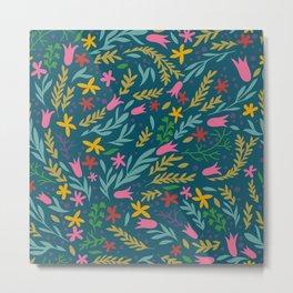 Blue Flowery Metal Print