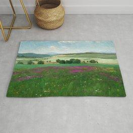 Lavender Fields by Pal Szinyei Merse Rug
