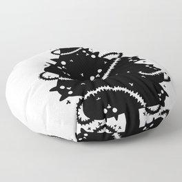 Black cat Christmas tree black and white Floor Pillow