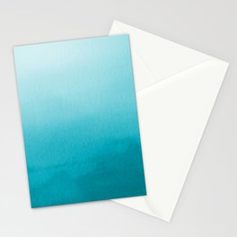 Teal and White Watercolor Abstract Art Gradient Stationery Cards
