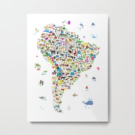 Animal Map of South America for children and kids Metal Print