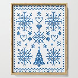 Christmas Cross Stitch Embroidery Sampler Teal And White Serving Tray