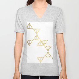 Deathly hallows golden pattern Unisex V-Neck