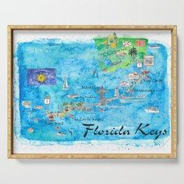 Florida Keys Key West Marathon Key Largo Illustrated Travel Poster Favorite Map Tourist Highlights Serving Tray
