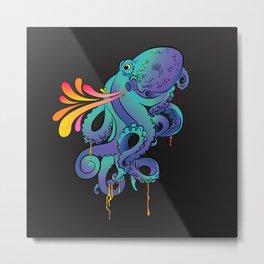 Neon Squid Metal Print