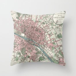 1821 Vintage Map of Paris France Throw Pillow