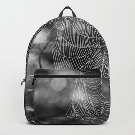 Spiderweb in Black and White Bokeh Nature Background #decor #society6 #buyart Backpack