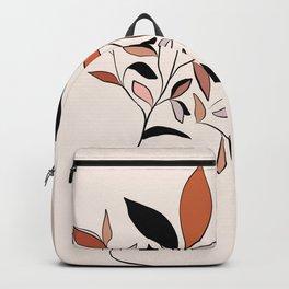 Minimal line Art botanical Portrait Backpack