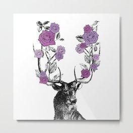 The Stag and Roses | Deer and Flowers | Purple | Vintage Stag | Vintage Deer | Antlers | Woodland | Metal Print